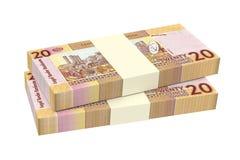 Sudanesiska pund räkningar som isoleras på vit bakgrund Arkivbilder
