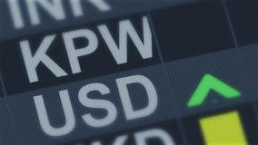 Sudcoreano ganó comparado al dólar americano Fluctuación de tipo de cambio de moneda ilustración del vector