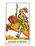 Knight of Wands Tarot Card Sudden Arrival  Great at Beginnings  No Follow Through  Unfinished Projects  Personal Freedom. Sudden Arrival  Great at Beginnings  No Stock Image