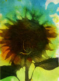 A Sudden Breeze Blew. Moody sunflower photographed when blurred in a momentary breeze, then spilled with watercolor pigments. Photo based mix medium image with Stock Photography