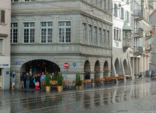 Sudden Downpour of Rain - Zurich Royalty Free Stock Image