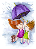 Sudden rain. Umbrella doesn't save friends in the rain Stock Photos