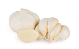 Sudden sharp hot garlic. Isolated on white background Royalty Free Stock Image