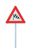Sudden side cross winds likely ahead road sign, isolated traffic warning flying sock crosswinds sidewind signage, danger windsock. Sudden side cross winds likely stock images