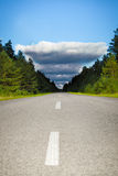 Sudden Twist. Road leads to unexpected storm Stock Photo