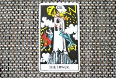 The Tower Tarot Card Sudden and unexpected change, upheaval, destruction, ruin, catastrophe. Sudden and unexpected change, upheaval, destruction, ruin royalty free stock images