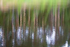 Suddig bakgrund av vattenreflexioner av träd och himmel royaltyfri bild
