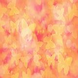 Suddig bakgrund för abstrakt lutning med gula fjärilar och bokeheffekt royaltyfri illustrationer