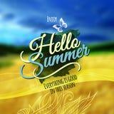 Suddig bakgrund för Hello sommarvektor. Arkivbild