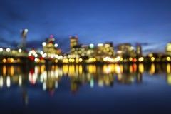 Suddig bakgrund för Portland Oregon horisont Arkivbild