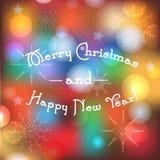 Suddig bakgrund för vinterferier med glad jul och det lyckliga nya året smsar Hälsningbaner med magiska ljus och traditionellt stock illustrationer