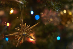 Suddig bakgrund, julgrangarnering Royaltyfri Bild