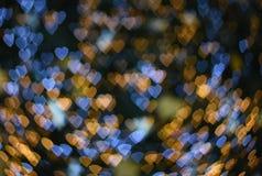 Suddig bakgrundsbild: Hjärtabokeh på suddig bakgrund Fotografering för Bildbyråer