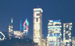Suddig bild av det Chicago centret på natten, USA Royaltyfri Bild