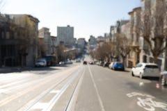 Suddig cityscape av den San Francisco stadsgatan royaltyfria foton