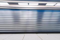 Suddig drevrörelse i tunnelbanastationen, Stockholm, Sverige Fotografering för Bildbyråer