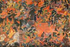 Suddig forntida thai vägg- målning Royaltyfria Foton