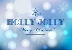 Suddig julbakgrund med text Holly Jolly Vinterferier som hälsar banret med magiska ljus och traditionell önska vektor illustrationer