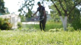 Suddig manlig arbetare med bensingräsklipparebeskäraren med bitande gräs för motor på en solig sommardag Klippa gräs i stock video