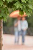 Suddig sikt av par som går under paraplyet Arkivfoton