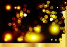 Suddig svart bakgrund med den guld- statykonturn Oscarsymbol i plan stil Guld- konturstatysymbol filmer vektor illustrationer
