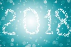 Suddig text för sken 2018 för kortet för ditt lyckliga nya år för design på blå bakgrund Fotografering för Bildbyråer