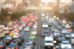 Suddig trafikstockning med ljus Royaltyfri Fotografi