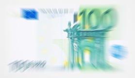 Suddig ut anmärkningsbakgrund för euro 100 Royaltyfri Bild
