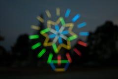 Suddiga ljusa bakgrunder i nattljusfestival Fotografering för Bildbyråer