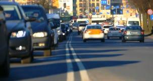 Suddiga trafikstockningar i staden, väg, rusningstid