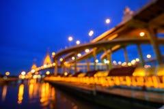Suddighet av den härliga stora Bhumibol bron Arkivfoto