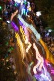 Suddighet för lyktaljusrörelse i den eklektiska Atlanta natten ståtar Arkivfoton
