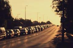 Suddigt foto av trafikstockning Arkivbilder