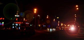 Suddigt landskap av nattstaden Fotografering för Bildbyråer