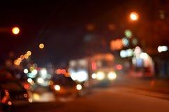 Suddigt landskap av nattstaden Royaltyfri Fotografi