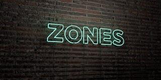 SUDDIVIDE IN ZONE - insegna al neon realistica sul fondo del muro di mattoni - l'immagine di riserva libera della sovranità resa  illustrazione vettoriale