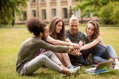 Sudents multietnici che si siedono sul prato inglese che si tiene per mano insieme Fotografia Stock