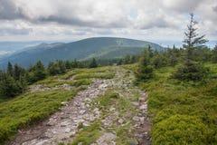 Sudety山的看法在波兰 库存照片