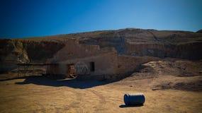 Sudochye前咸海,卡拉卡尔帕克斯坦自治共和国,乌兹别克斯坦的湖零件岸的亦称被破坏的Urga渔村  免版税库存图片