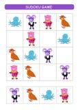 Sudoku για τα παιδιά Φύλλο δραστηριότητας παιδιών Λογική κατάρτισης, εκπαιδευτικό παιχνίδι Παιχνίδι Sudoku με τα ζώα διανυσματική απεικόνιση