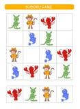 Sudoku για τα παιδιά Φύλλο δραστηριότητας παιδιών Λογική κατάρτισης, εκπαιδευτικό παιχνίδι Παιχνίδι Sudoku με τα ζώα απεικόνιση αποθεμάτων