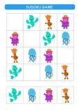Sudoku για τα παιδιά Φύλλο δραστηριότητας παιδιών Λογική κατάρτισης, εκπαιδευτικό παιχνίδι Παιχνίδι Sudoku με τα ζώα ελεύθερη απεικόνιση δικαιώματος