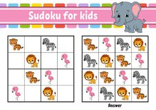 Sudoku για τα παιδιά r Σελίδα δραστηριότητας με τις εικόνες Παιχνίδι γρίφων για τα παιδιά Λογική κατάρτιση σκέψης απεικόνιση αποθεμάτων