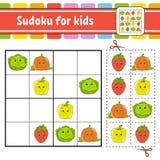 Sudoku για τα παιδιά r Σελίδα δραστηριότητας με τις εικόνες Παιχνίδι γρίφων για τα παιδιά Λογική κατάρτιση σκέψης διανυσματική απεικόνιση