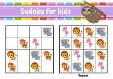 Sudoku για τα παιδιά r Σελίδα δραστηριότητας με τις εικόνες Παιχνίδι γρίφων για τα παιδιά Λογική κατάρτιση σκέψης ελεύθερη απεικόνιση δικαιώματος