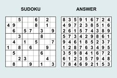 Sudoku вектора с ответом 120 Стоковое Изображение