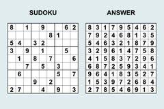 Sudoku вектора с ответом 122 Стоковая Фотография