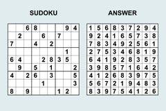 Sudoku вектора с ответом Стоковые Фото