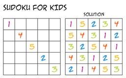 Sudoku для детей с решением - с красочными номерами Стоковая Фотография RF