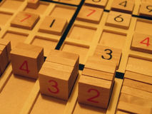 Sudoku. Wood sudoku board and tiles Royalty Free Stock Image